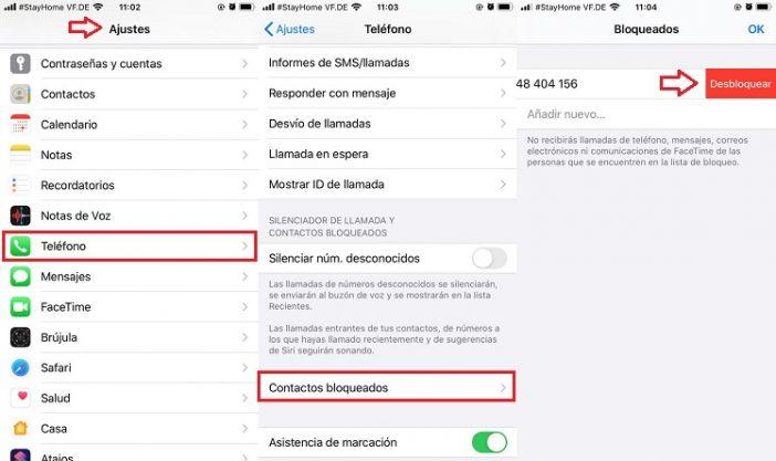 Desbloquear números de teléfono en iPhone