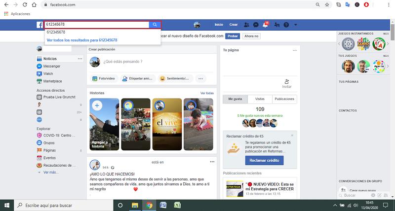 Método para buscar por número de celular en facebook