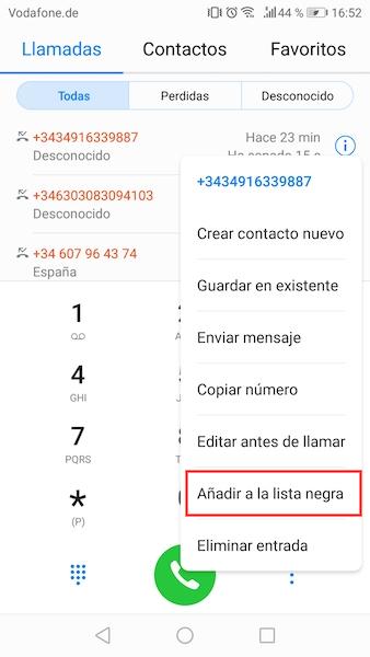 bloquear numero de telefono en android