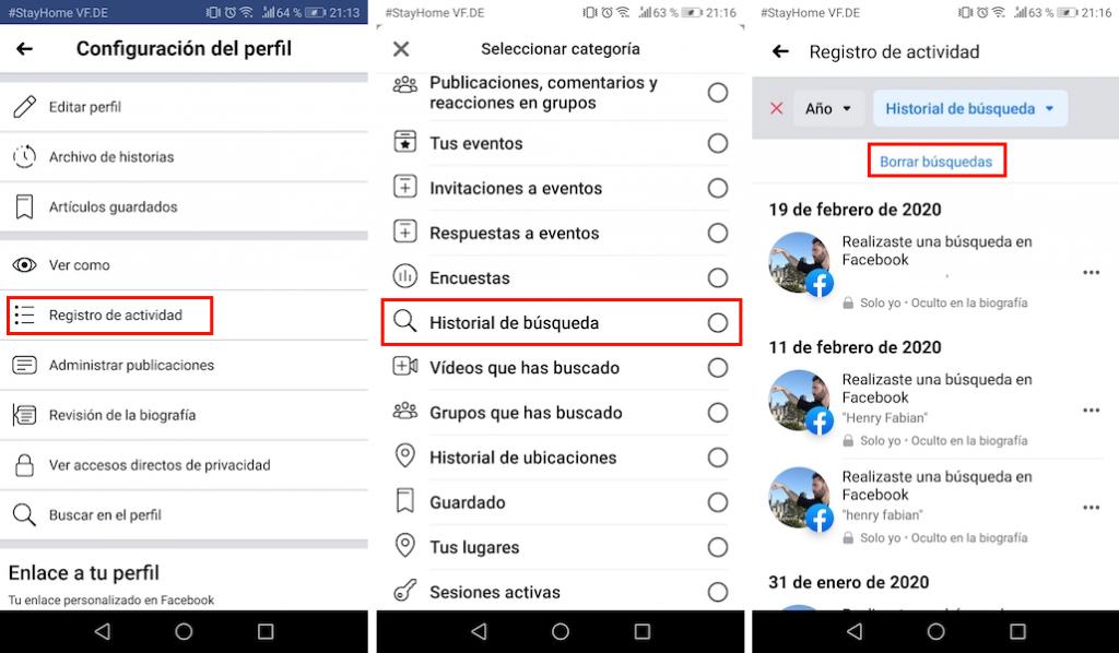 borrar historial facebook en celular