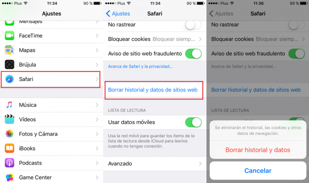 borrar historial safari en iphone