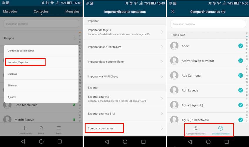compartir contactos android