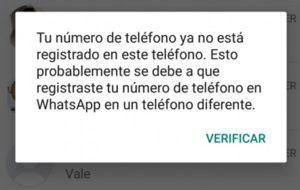 error whatsapp verificacion