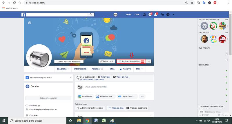 paso a paso 1 borrar historial facebook