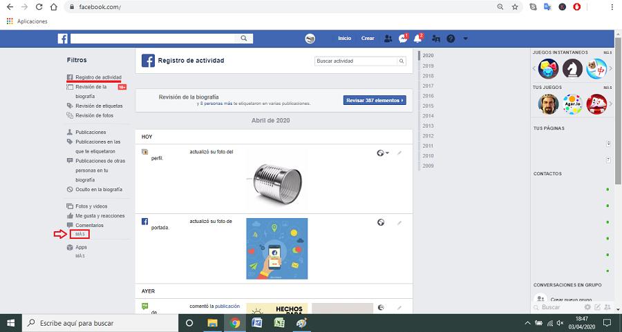 paso a paso 2 borrar historial facebook