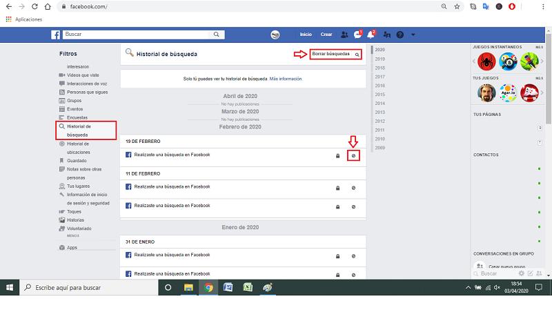paso a paso 3 borrar historial facebook