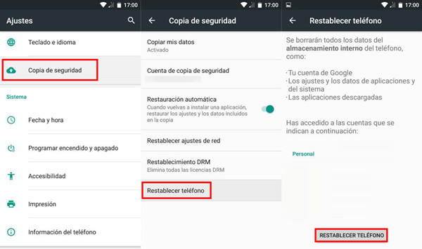 restaurar android