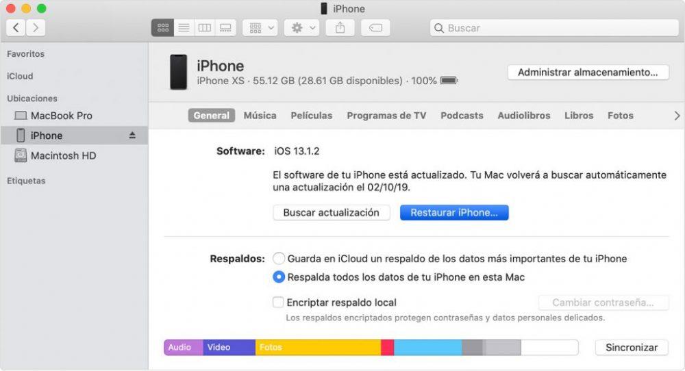 restaurar iphone