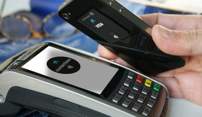 sticker to be paid with the mobile at the cash register